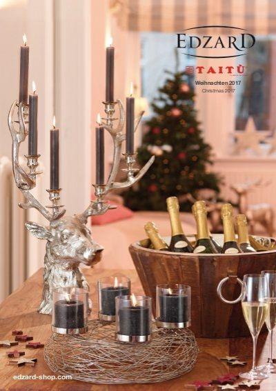 Die Weihnachtsprodukte von EDZARD umfassen, Kerzenleuchter, Adventskränze, Teelichter, Weinkühler, Sektkühler, Hirschgeweihe,