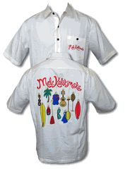 Christmas Ornaments - Mele Kalikimaka. Men's Go Barefoot Embroidered Hawaiian shirt. Embroidered with Mele Kalikimaka (Merry Christmas) on the pocket and large embroidered Woody and Santa Design on the back is Available in Black and Stone/Beige.   Coconut shell buttons Button Patch Pocket Embroidered Mele Kalikimaka Embroidered Christmas Ornaments Banded Collar Side Vents for comfort fit inside or outside the belt Back pleats below the Yoke