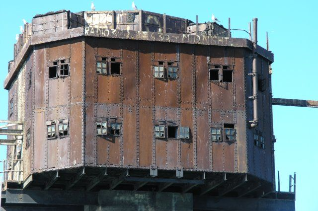 Artificial Owl: Maunsell abandoned Army Sea Forts, Red Sands Shivering Sands, Thames estuary, UK