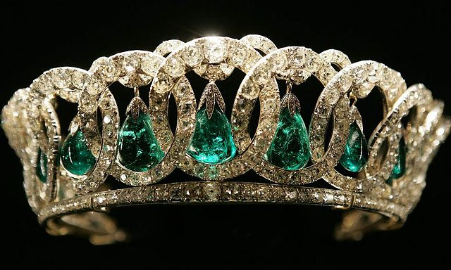 The Grand Duchess Vladimir Tiara from Great Britian with the Cambridge emeralds