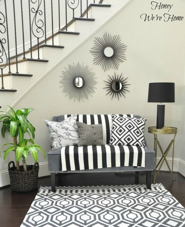 Staircase Makeover, Classic black and white.
