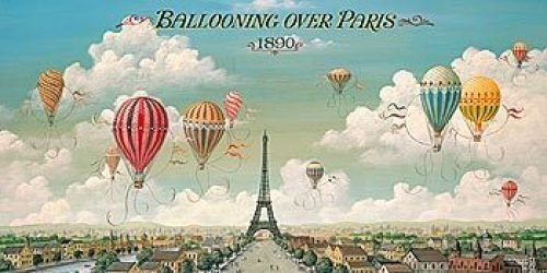 I love this. We have a John Pils painting of St. Louis in black and white with hot air balloons in bright colors.