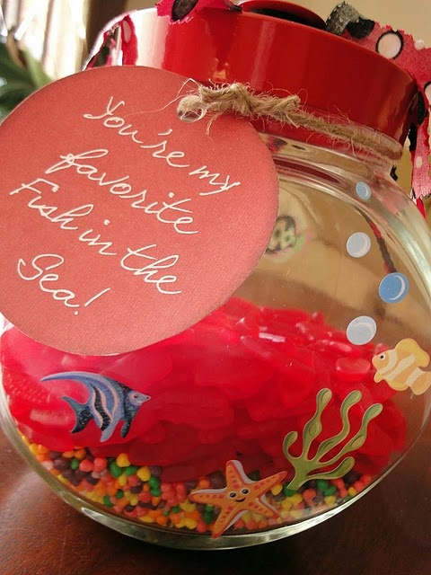 """Valentine Gift for Hubby - """"You're My Favorite Fish in the Sea"""" using Swedish Fish, Nerds, and a Fish Bowl"""