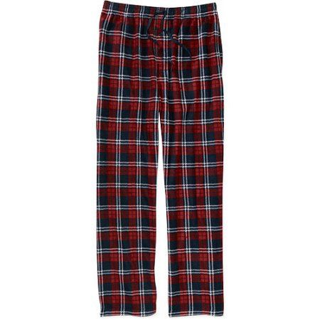 Faded Glory Men's Micro Fleece Plaid Pants, Red