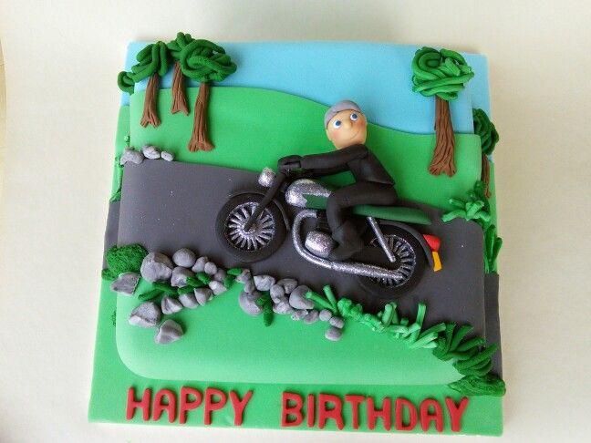 Biker boy cake for a Triumph Bonneville fan......