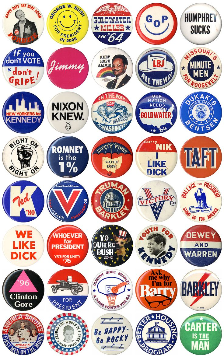 Assorted campaign pins  (via Legacy Americana)