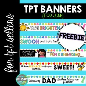 Banners for TPT - June {FREEBIE}GIVE YOUR STORE A FUN LITTLE UPDATE! Get these cute banners before they are replaced by next month's!INCLUDED:LEADERBOARD BANNERS:- 5 different June/Summer themed banners for your TPT store!***************************************************************************Other Fun Stuff!IF YOU LIKE THIS CHECK OUT MY:Animated Quote Box Banner Design SetMorning Routine PowerPoint {EDITABLE}Instagram Parent Letter
