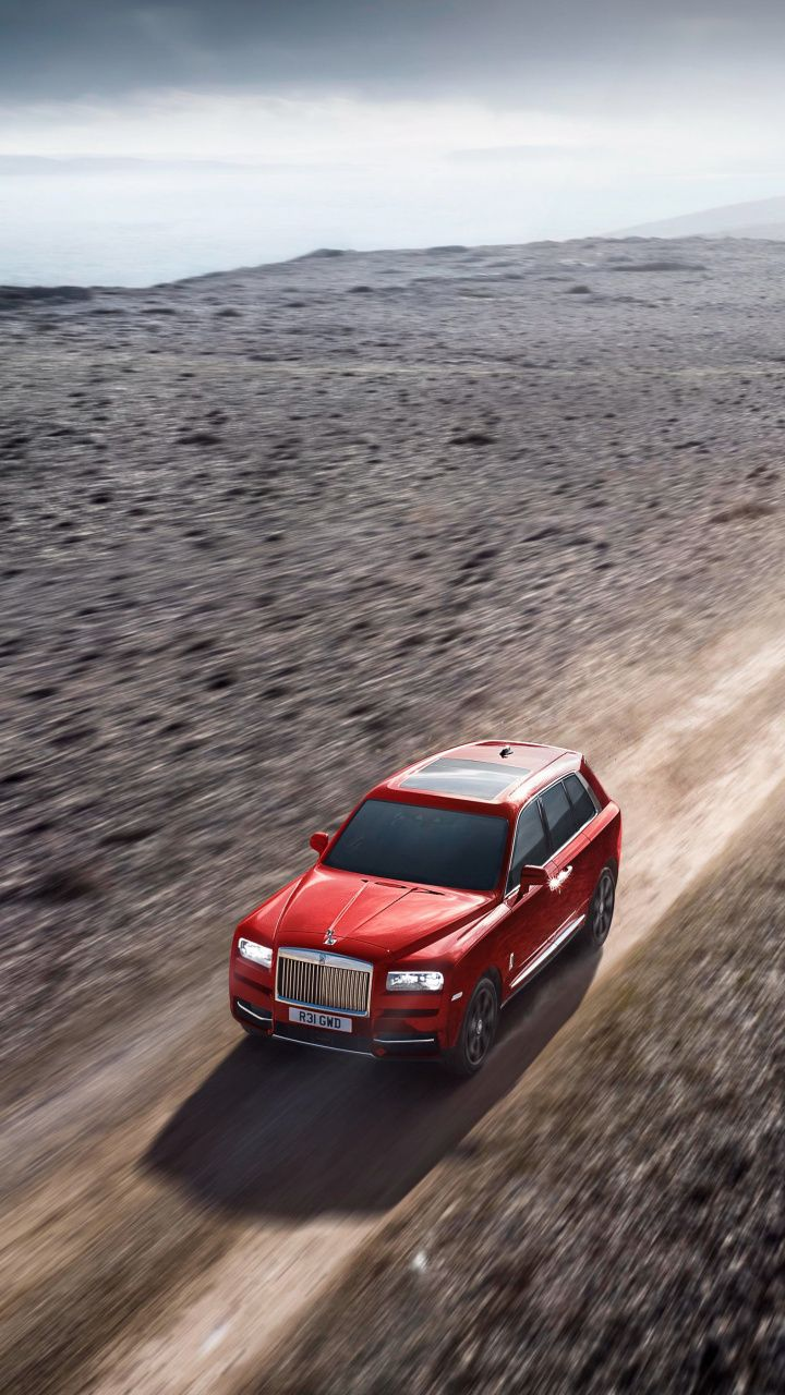 720x1280 Wallpaper Red Rolls Royce Cullinan Outdoor With Images