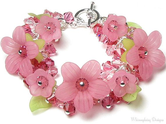 Cherry Splash Pink Floral Swarovski Crystal by whimsydaisydesigns,