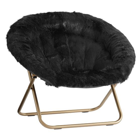 Black Himalayan Faux-Fur Hang-A-Round Chair  $159 (less 20% is $127.20)