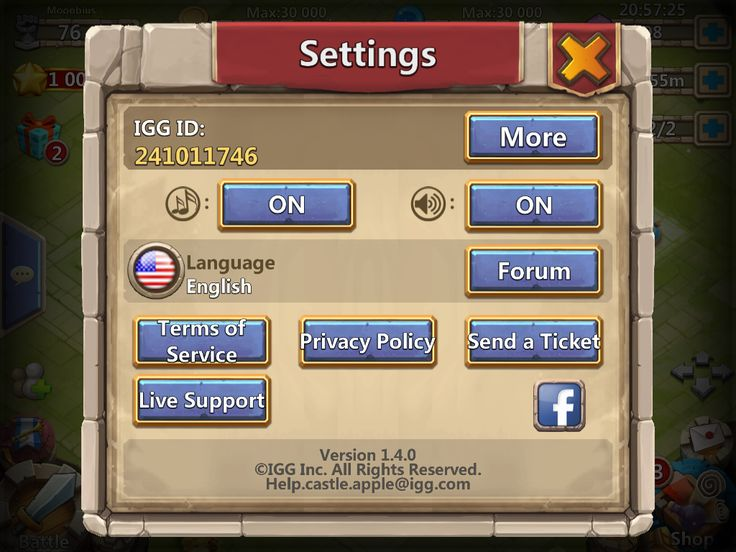 Castle Clash by IGG - Settings - UI HUD User Interface Game Art GUI iOS Apps Games
