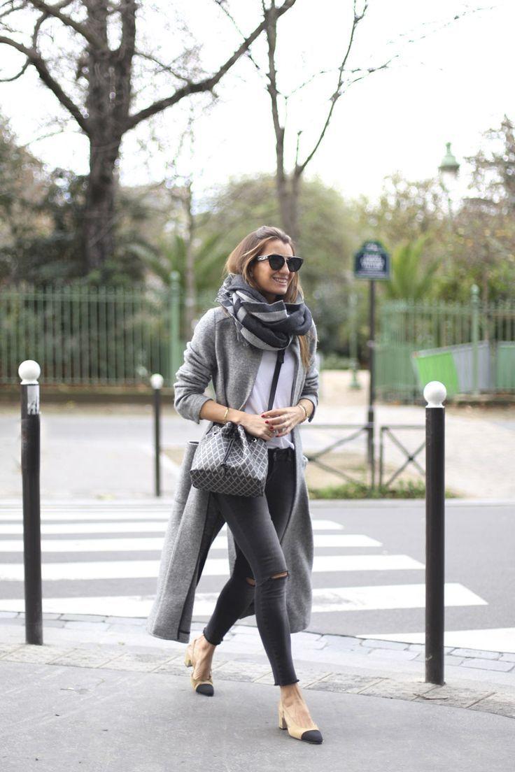 fall fashion // Chanel pumps // long grey cardigan