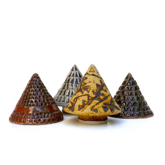Four Miniature Trees Earth TonesCeramic by BlueMagpieDesign