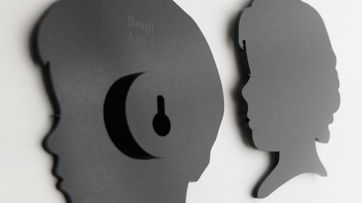 Benji and Lily. 3mm black acrylic silhouettes, unframed, with wall mount and name/age on reverse. 160mm high.