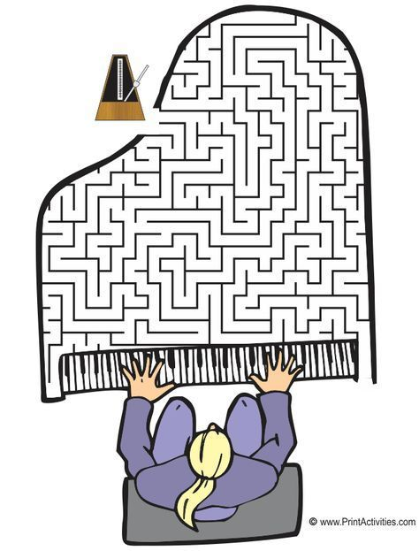 Grand piano shaped maze from http://PrintActivities.com