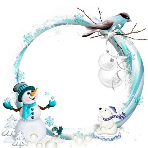 Round Transparent Blue PNG Christmas Frame with Snowman