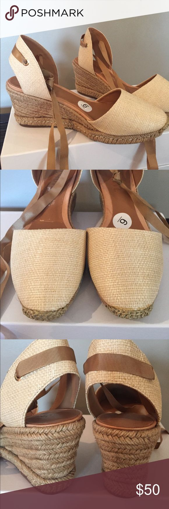 """Schultz Natural Espadrille NWT Size 6 Sandals Schultz Natural Espadrille NWT Size 6 Sandals Ribbon Strap around ankle. No issues. Brand new. Comes in original box. Purchased at Neiman Marcus. 2 1/2"""" comfortable heel!! SCHUTZ Shoes Espadrilles"""