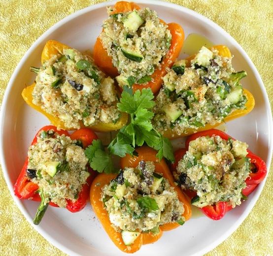 Greek-Style Shrimp With Feta-Stuffed Peppers Recipe — Dishmaps