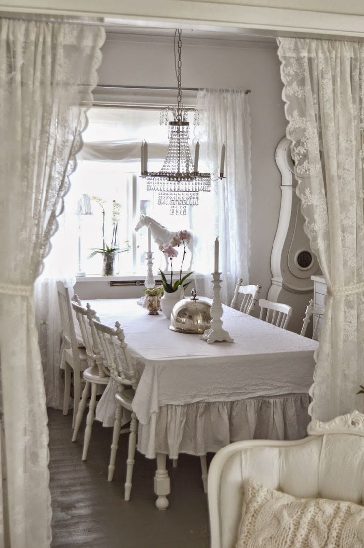 White Ruffled Curtains Shabby Chic - Find this pin and more on ruffle love