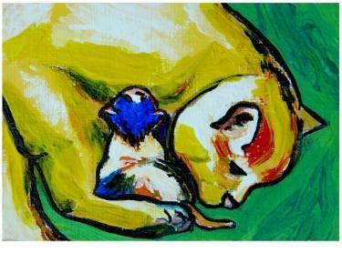 "Saatchi Art Artist Elisabeta Vlad; Painting, ""Cat with kitten"" #art"