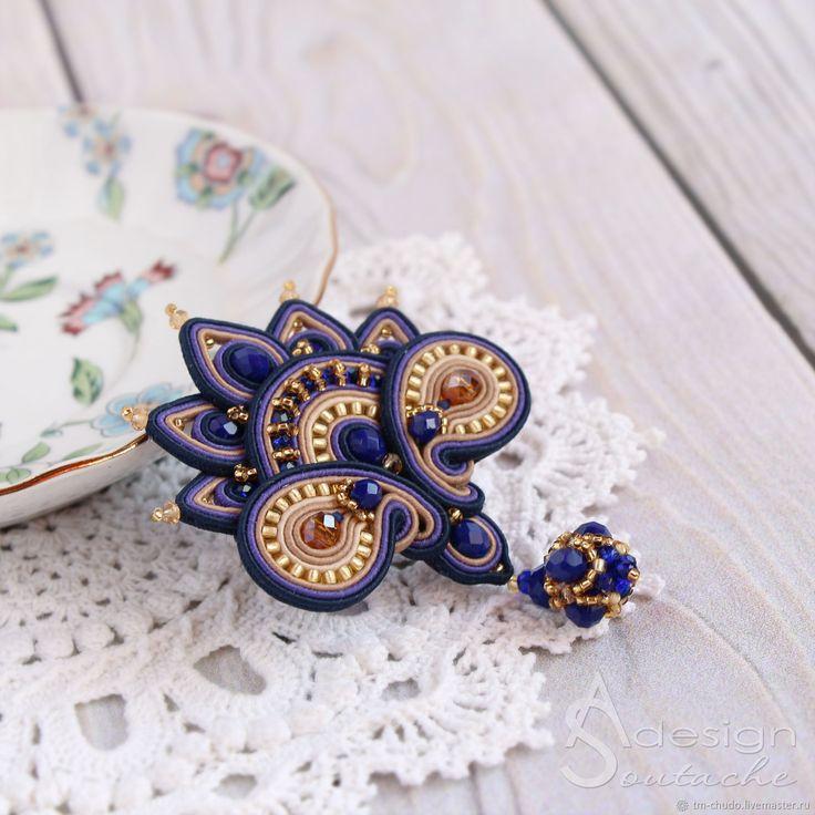 Вышитая брошь из бисера и сутажа Indigo, синий фиолетовый – купить или заказать в интернет-магазине на Ярмарке Мастеров | Вышитая брошь из бисера и сутажа Indigo из…
