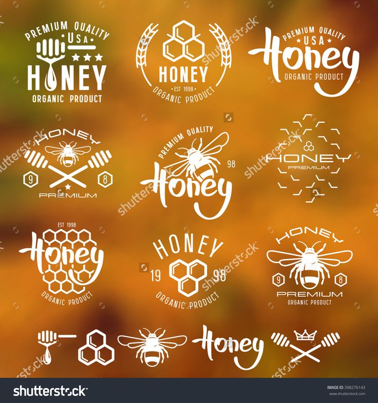 Set Of Honey Labels, Badges, Logotypes And Design Elements. White Print On Blurred Background Stock Vector Illustration 398276143 : Shutterstock
