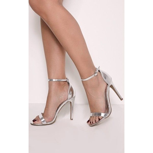 Clover Metallic Silver Strap Heeled Sandals-3 ($29) ❤ liked on Polyvore featuring shoes, sandals, grey, vegan shoes, metallic strappy sandals, strap sandals, grey sandals and heeled sandals