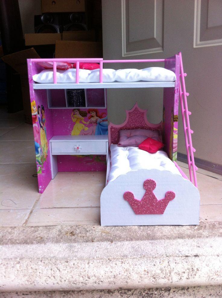 Camita princesa de cart n para mu ecas manualidades for Casa con muebles transformables