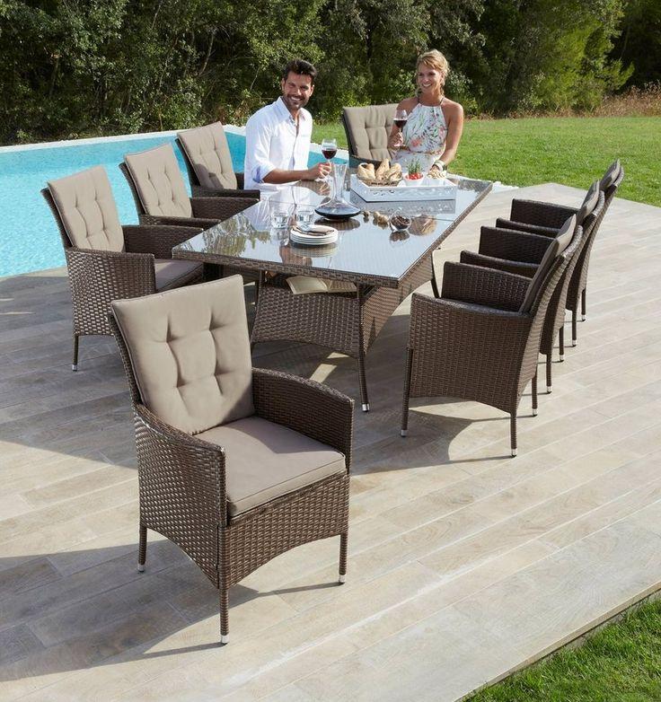 Great Gartenm belset Santiago New tlg Sessel Tisch x cm Polyrattan