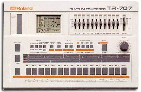 Roland TR-707 drum machine, one of a multitude of drum machines produced since the 80's