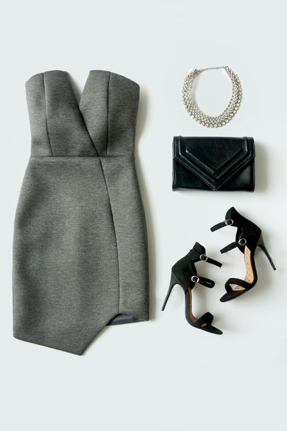 That's What Chic Said Strapless Padded Grey Bodycon Dress