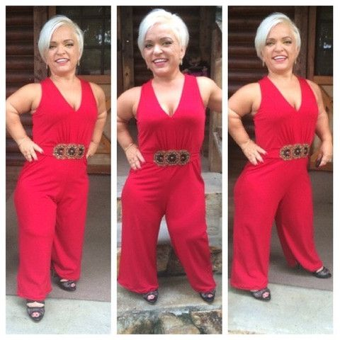 Red HOT Embellished Jumpsuit for Little People with Dwarfism - Adult Women