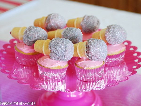 Barbie Princess + The Popstar party by Paisley Petal Events: microphone cupcake toppers