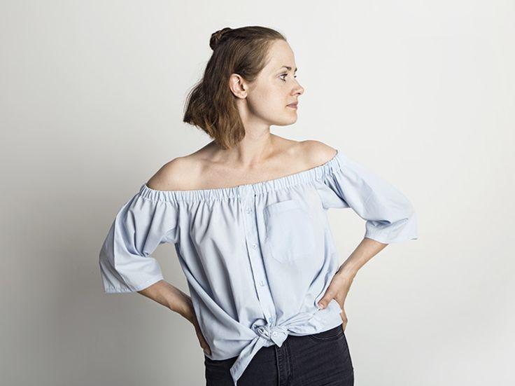 DIY-Anleitung: Herrenhemd in Off-Shoulder Bluse verwandeln via DaWanda.com (Diy Clothes 2017)