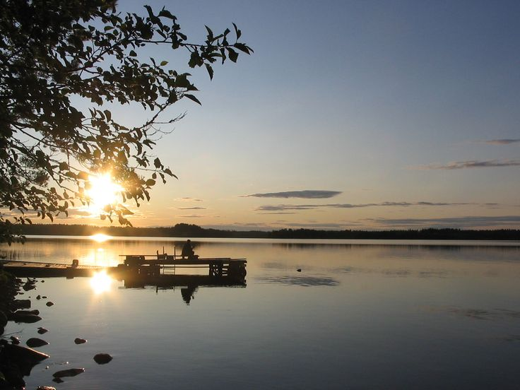 Midnight Sun at lake Jokijärvi at the beach of Saija Lodge, Taivalkoski, Kuusamo Lapland, Finland