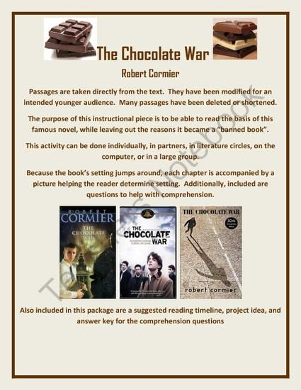 chocolate war critical essays About us we value excellent academic writing and strive to provide outstanding essay writing services each and every time you place an order we write essays, research papers, term papers, course works, reviews, theses and more, so our primary mission is to help you succeed academically.