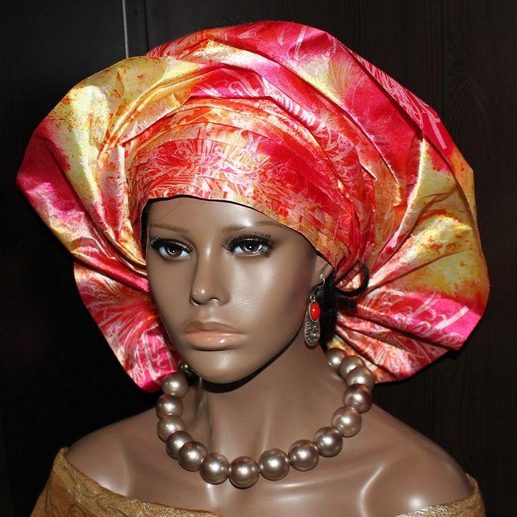 Pret-a-porter - Pre-made African Gele Headwrap - Head tie - Pink floral #gele