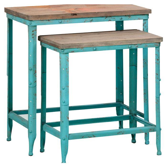 Turquoise Nesting Table Set