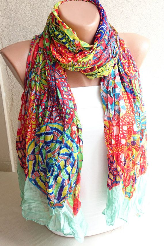 Colorful Wrinkled Summer Scarf Colorful Pareo by ModernScarfPoint