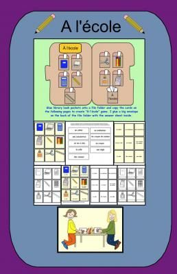 Lécole file folder game pdf from Teaching The Smart Way on TeachersNotebook.com -  (8 pages)  - L'école file folder game and activities