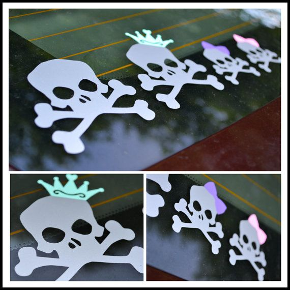 Skull and crossbones family car stickers
