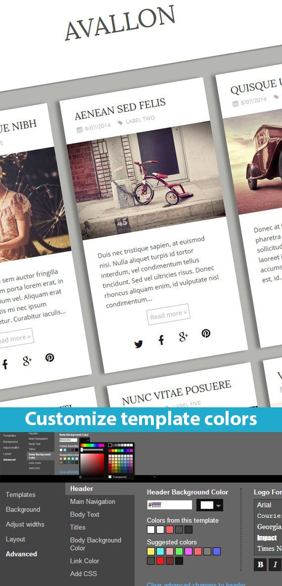 Etsy Blogger Template called Avallon by BloggerTemplate