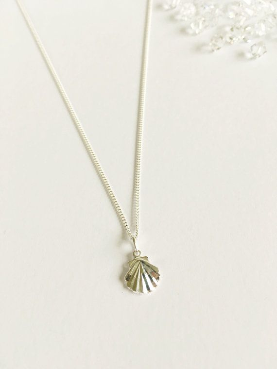 Silver Shell Necklaceshell necklaceshell by WhitePebbleJewellery