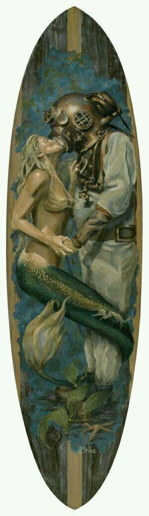 Sereia e mergulhador