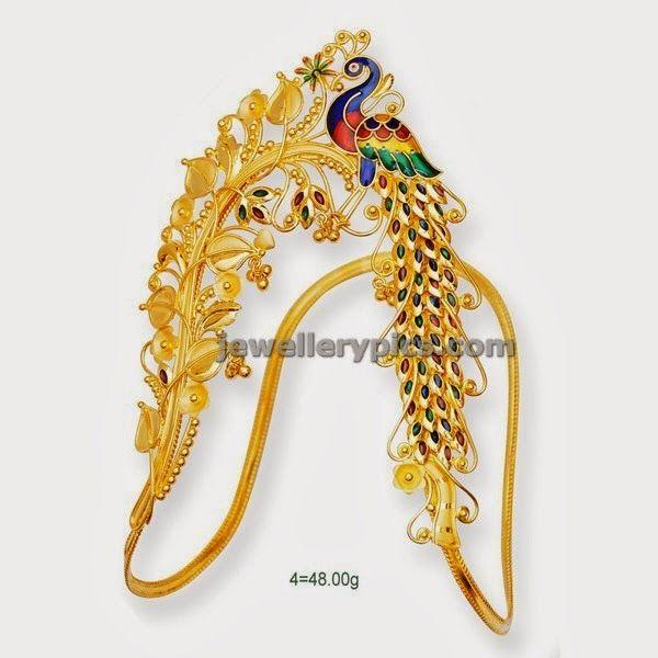 Gold Enamelled vanki single peacock design - Latest Jewellery Designs