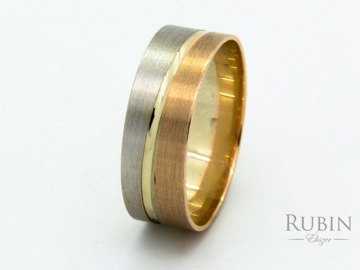Vésett arany bikolor karikagyűrű