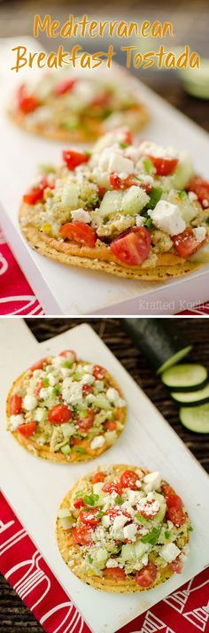 Mediterranean Breakfast Tostadas are a quick and healthy breakfast recipe that will fill you up and fuel you for the day with fantastic Greek flavors! - Krafted Koch #Breakfast #Tostada #Healthy