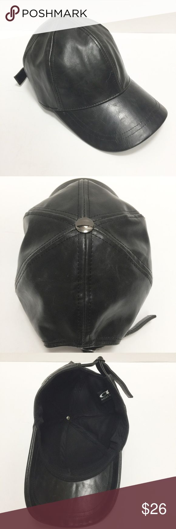 Pleather Baseball Cap Super awesome pleather baseball cap. The faux leather is so good you wouldn't know it is not real leather. It is not soft or flimsy - it is pretty hard and lined with cotton. No stains inside or odd smells. Inside it says it is 100% PU Accessories Hats