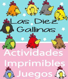 las diez gallinas, cuento las diez gallinas, grande mediano pequeño, fichas de mates, fichas primaria, fichas preescolar, las diez gallinas actividades