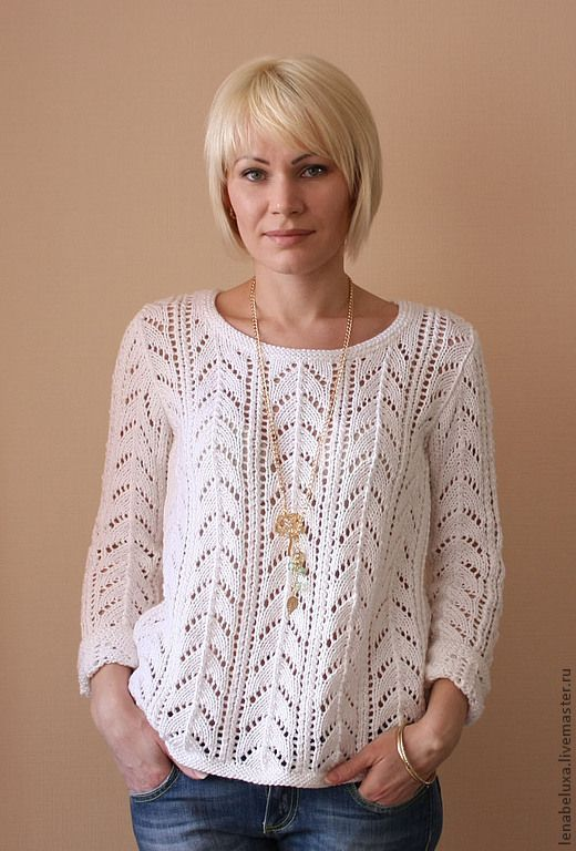 821c588e511 Белый ажурный пуловер-1